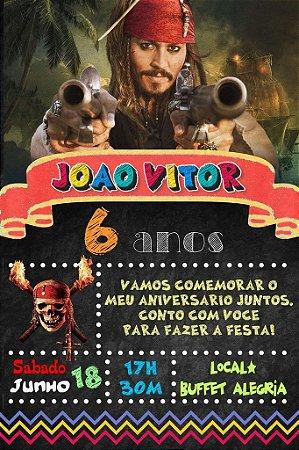 Convite digital quadro (Chalkboard) Piratas das Caraíbas 136