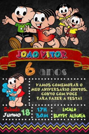 Convite digital quadro (Chalkboard) Turma da Mônica 150