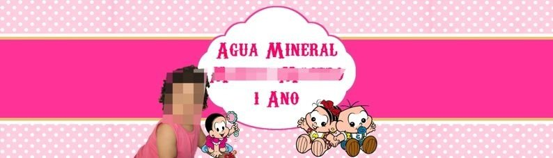 Rótulo água Turma da Mônica Baby com foto