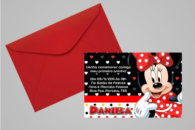 Convite 10x15 Minnie 009