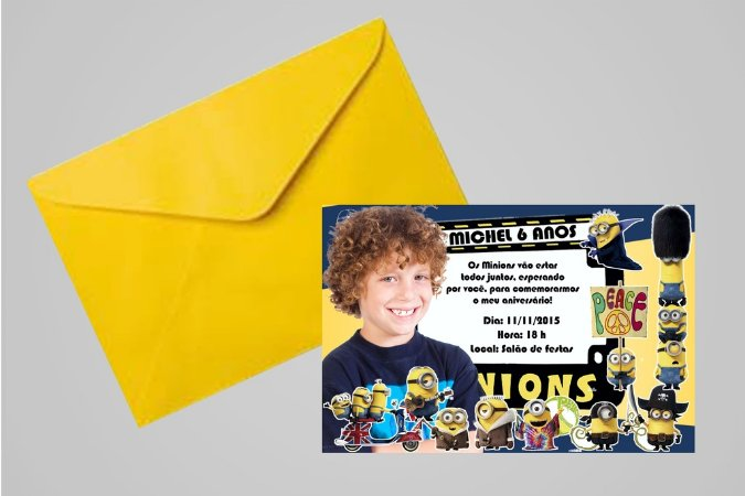 Convite 10x15 Minions 001com foto