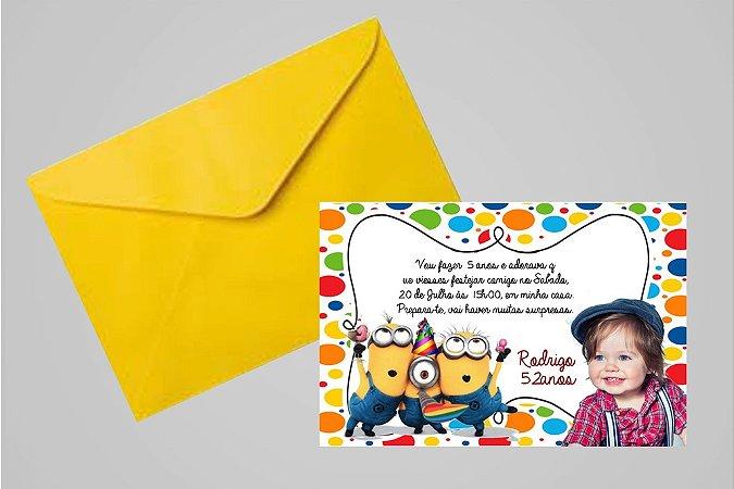Convite 10x15 Minions 007 com foto