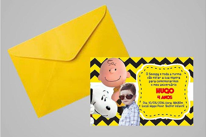 Convite 10x15 Snoopy e Charlie Brown 005 com foto
