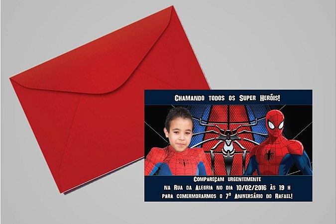 Convite 10x15 Homem Aranha 009 com foto
