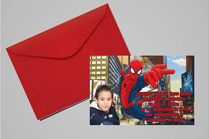 Convite 10x15 Homem Aranha 011 com foto