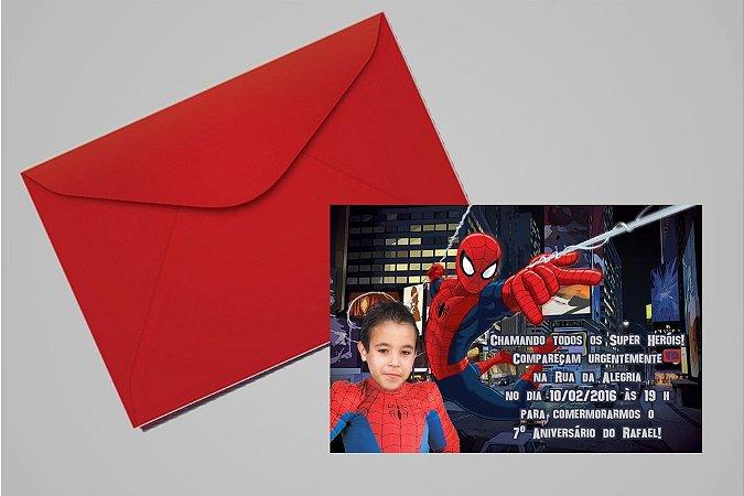 Convite 10x15 Homem Aranha 012 com foto
