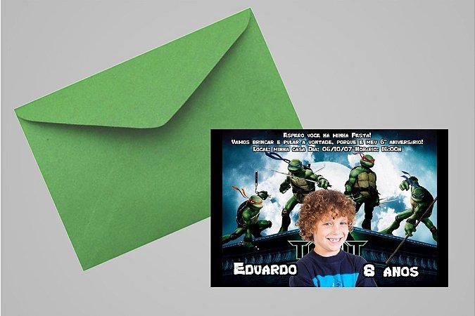 Convite 10x15 Tartarugas Ninja 001 com foto