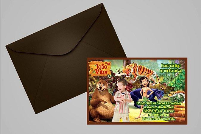 Convite 10x15 Mogli, O Menino Lobo 004 com foto