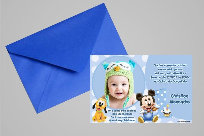 Convite 10x15 Baby Disney 023 com foto