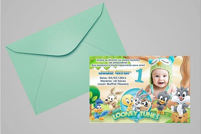 Convite 10x15 Baby Looney Tunes 005 com foto