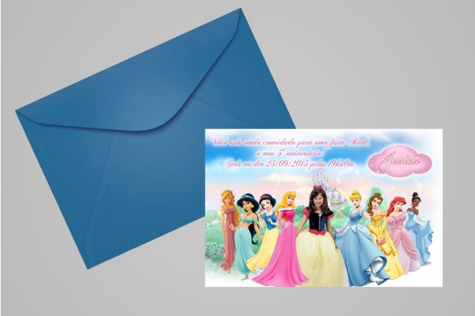 Convite 10x15 Princesas Disney 011 com foto