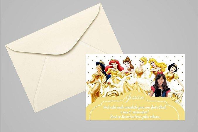 Convite 10x15 Princesas Disney 021 com foto