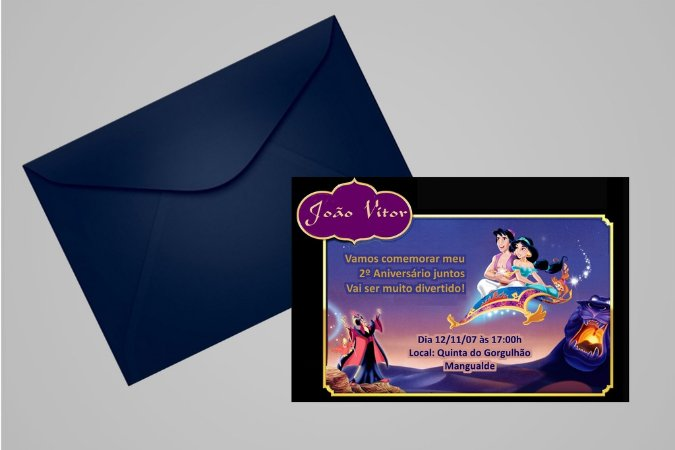 Convite 10x15 Aladdin 007