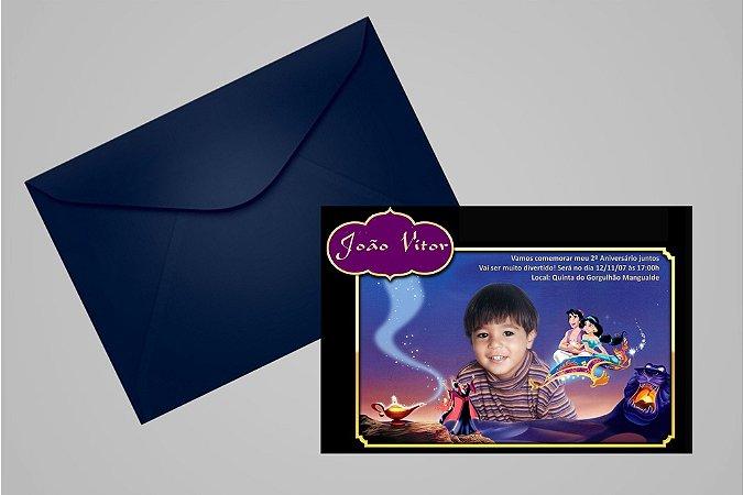 Convite 10x15 Aladdin 007 com foto