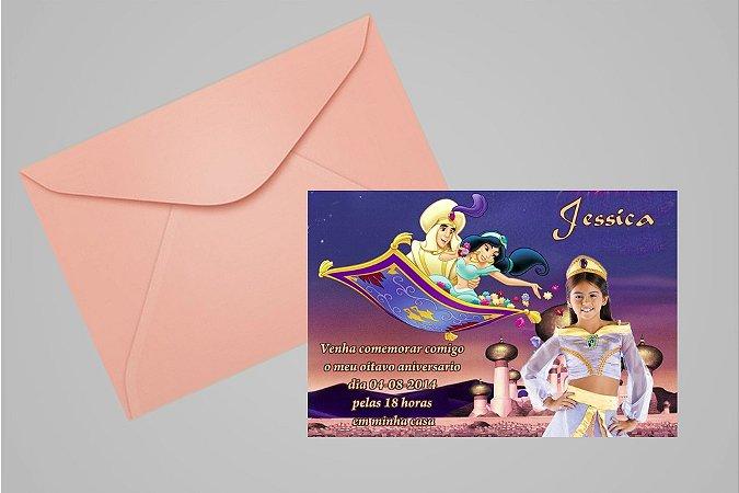 Convite 10x15 Aladdin 008 com foto