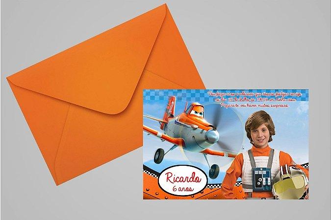 Convite 10x15 Aviões da Disney 003 com foto