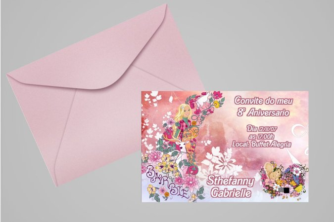 Convite 10x15 Barbie 049