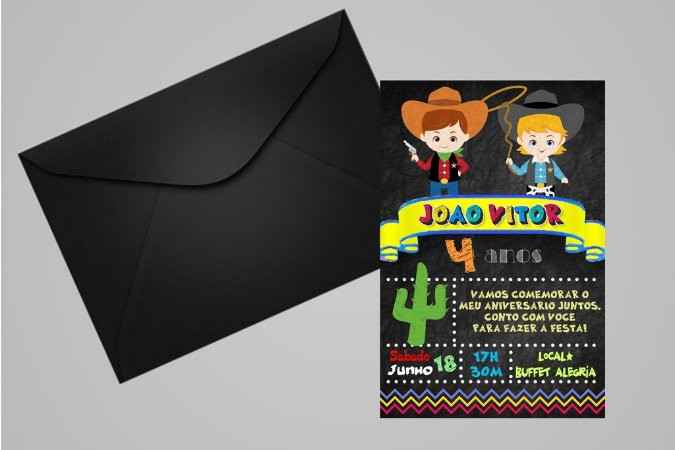 Convite 10x15 Cowboys 009