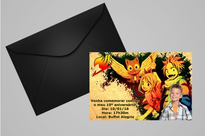 Convite 10x15 Fairy Tail 004 com foto