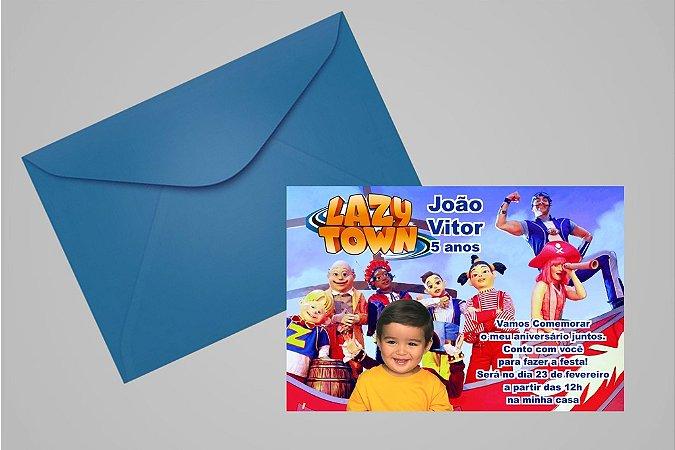 Convite 10x15 Lazy Town 001 com foto