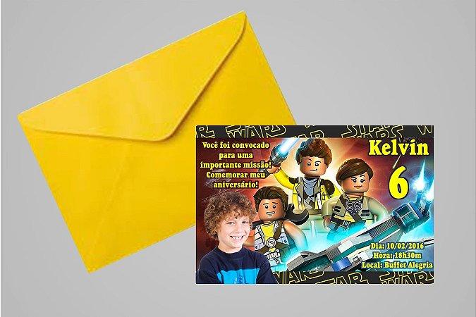 Convite 10x15 Lego Star Wars 002 com foto