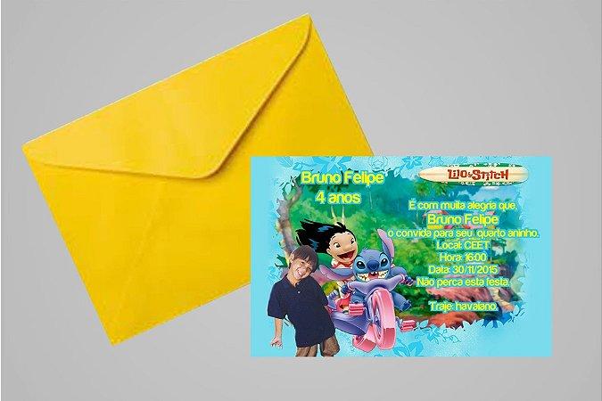 Convite 10x15 Lilo & Stitch 002 com foto