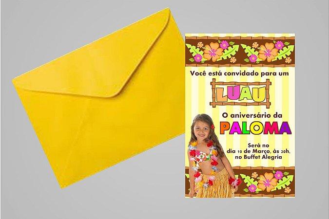 Convite 10x15 Luau 008 com foto