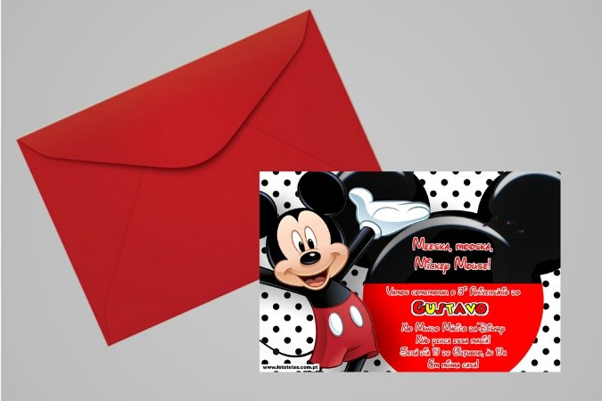 Convite 10x15 Mickey Mouse 007