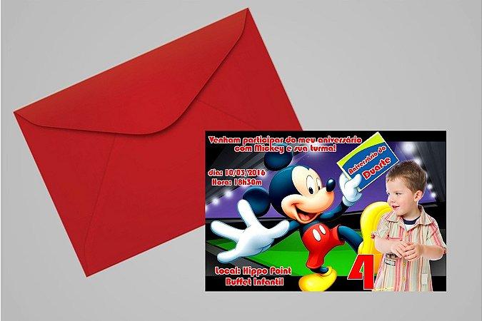 Convite 10x15 Mickey Mouse 005 com foto