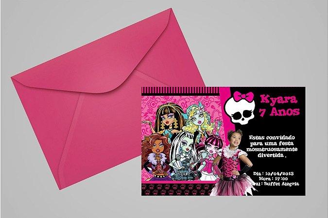 Convite 10x15 Monster High 001 com foto