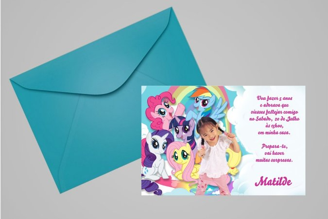 Convite 10x15 My Little Pony 009 com foto