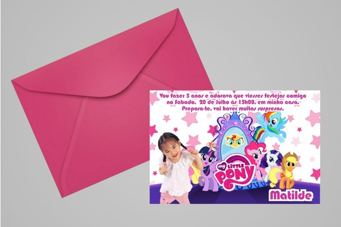 Convite 10x15 My Little Pony 011 com foto