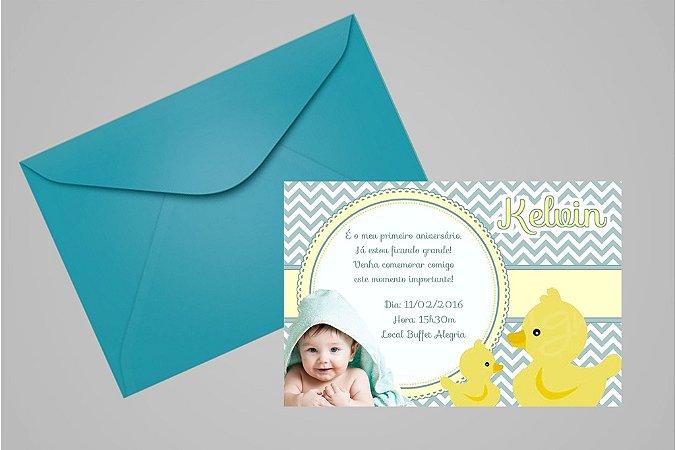 Convite 10x15 Patinho Amarelinho 003 com foto