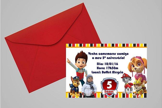 Convite 10x15 Patrulha Canina 003 com foto