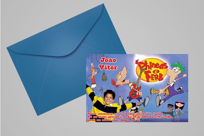 Convite 10x15 Phineas and Ferb 004 com foto