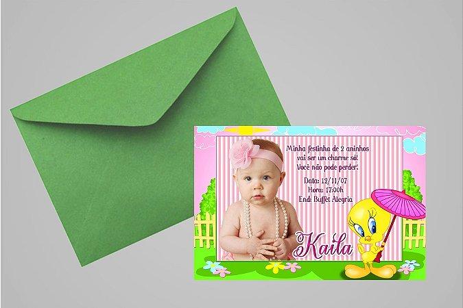 Convite 10x15 Piu-piu Tweety 007 com foto