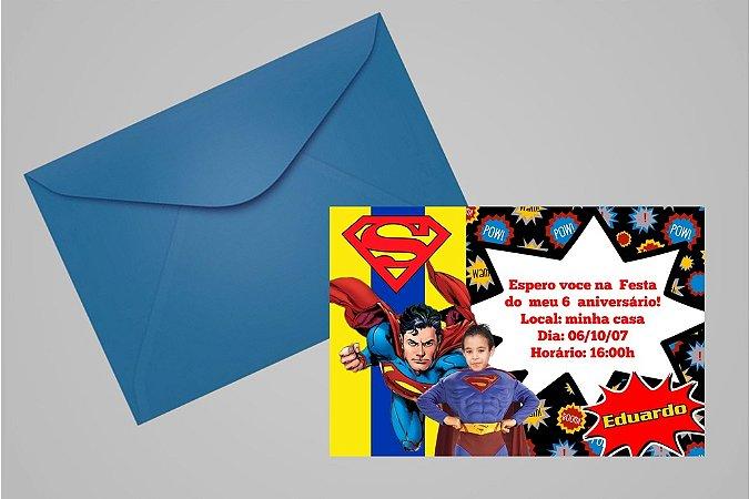 Convite 10x15 Super Homem 001 com foto