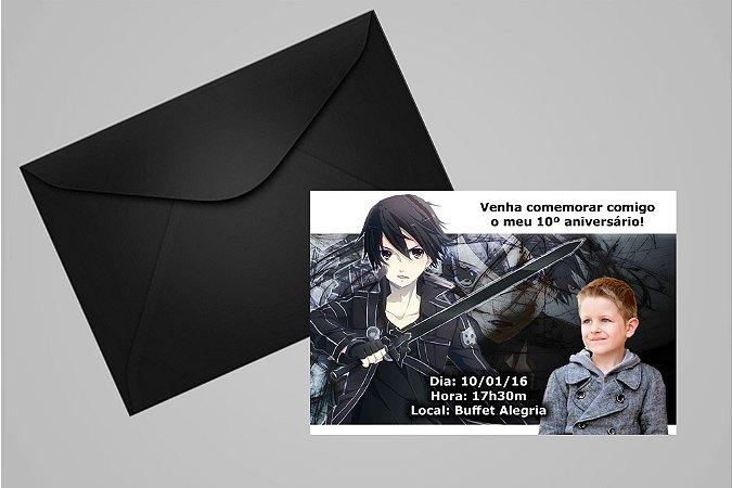 Convite 10x15 Sword Art Online 002 com foto