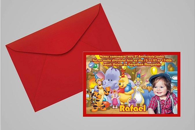 Convite 10x15 Ursinho Pooh -  Ursinho Puff 002 com foto
