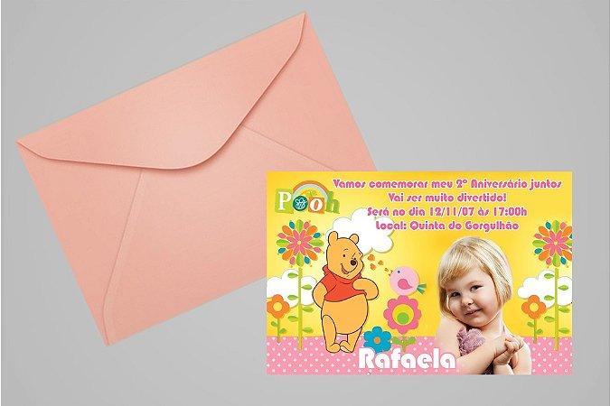 Convite 10x15 Ursinho Pooh -  Ursinho Puff 005 com foto