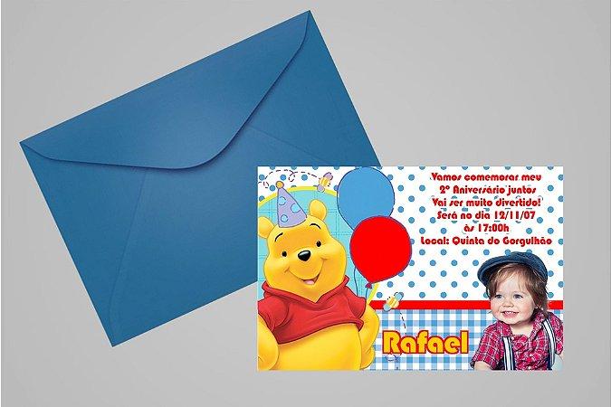 Convite 10x15 Ursinho Pooh -  Ursinho Puff 011 com foto