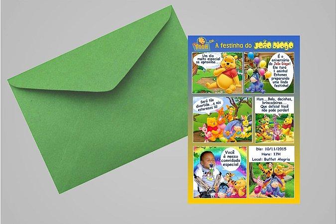 Convite 10x15 Ursinho Pooh - Ursinho Puff 015 com foto