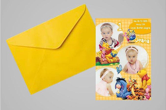 Convite 10x15 Ursinho Pooh - Ursinho Puff 016 com foto