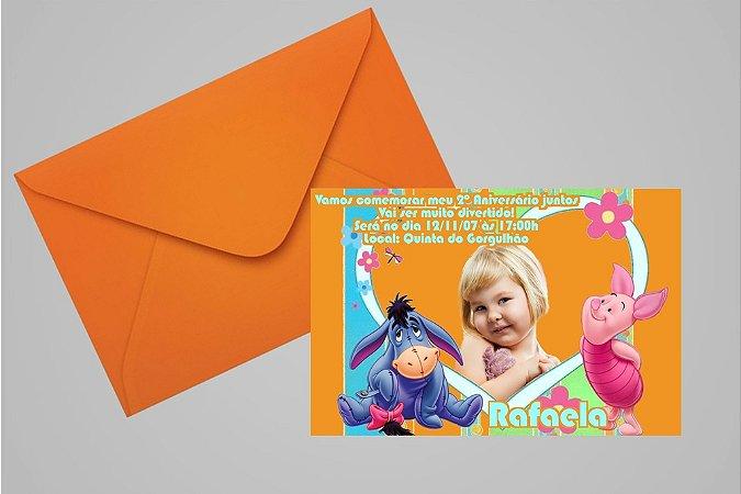 Convite 10x15 Ursinho Pooh - Ursinho Puff 019 com foto