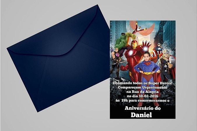 Convite 10x15 Vingadores 012 com foto