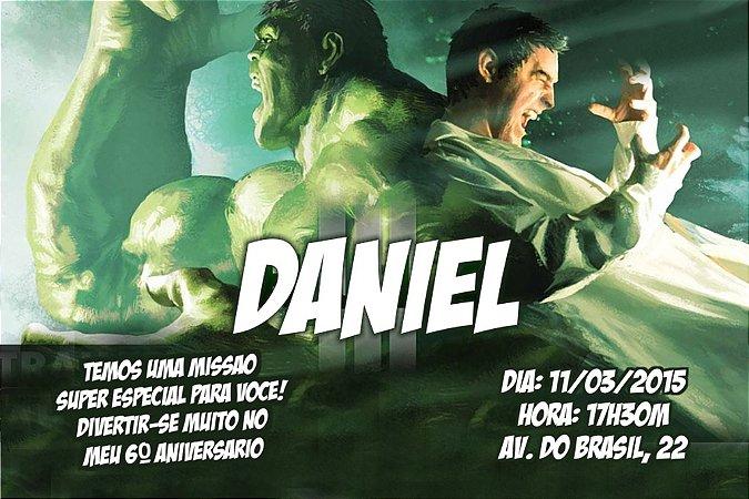 Convite digital personalizado O Incrível Hulk 005