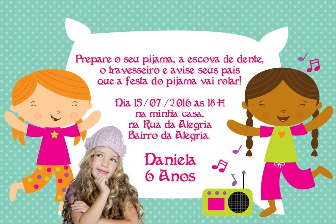 Convite digital personalizado Festa do Pijama 001 com foto