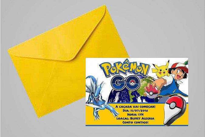 Convite 10x15 Pokémon GO 009 com ou sem foto