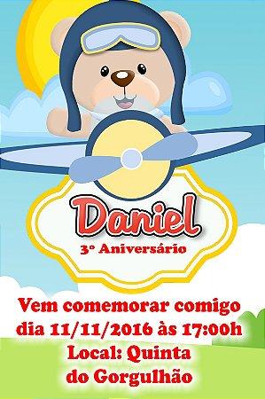 Convite digital personalizado Ursinho Aviador 002