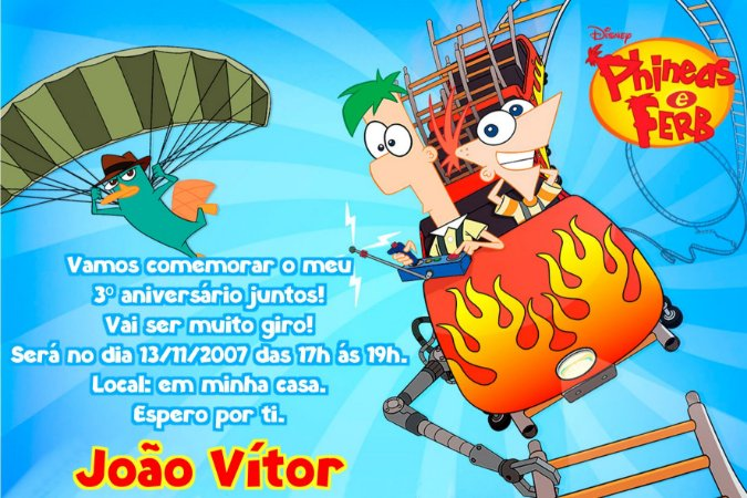 Convite digital personalizado Phineas and Ferb 008